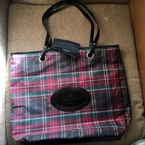 NWT Tommy Hilfiger Red Plaid Mag Tote